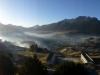 ...während sich die Berge bereits im Morgenlicht sonnen